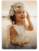 This is a yellow holiday photo card by Erica Krystek called Pure Peace with standard printing on smooth signature in standard.
