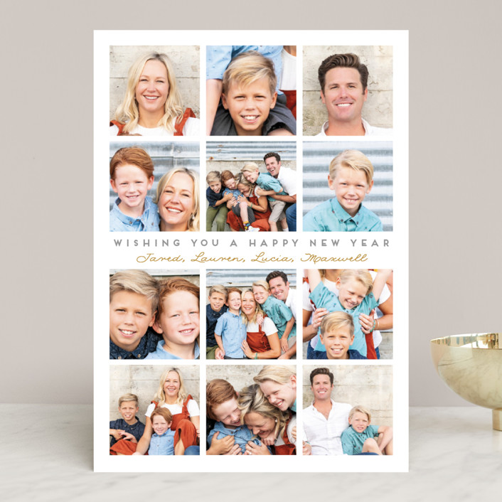 """""""A Very Merry Year"""" - Holiday Photo Cards in Silver Bell by Leah Bisch."""