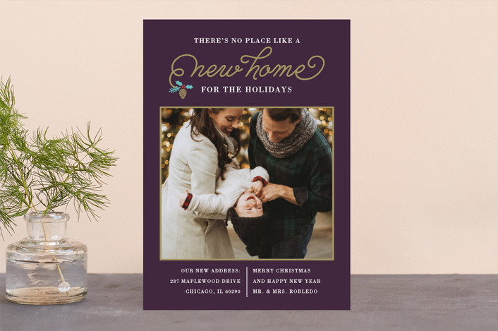 """New Christmas Home"" - Holiday Photo Cards in Violet by Coco and Ellie Design."