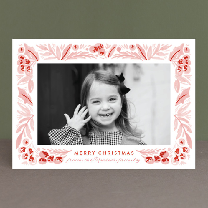 """""""Painted Foliage Frame"""" - Holiday Photo Cards in Pine by Alethea and Ruth."""