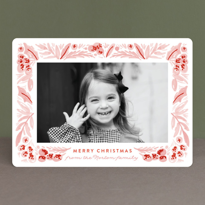 """""""Painted Foliage Frame"""" - Holiday Photo Cards in Holly by Alethea and Ruth."""