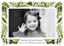 Painted Foliage Frame Holiday Photo Cards By Alethea and Ruth