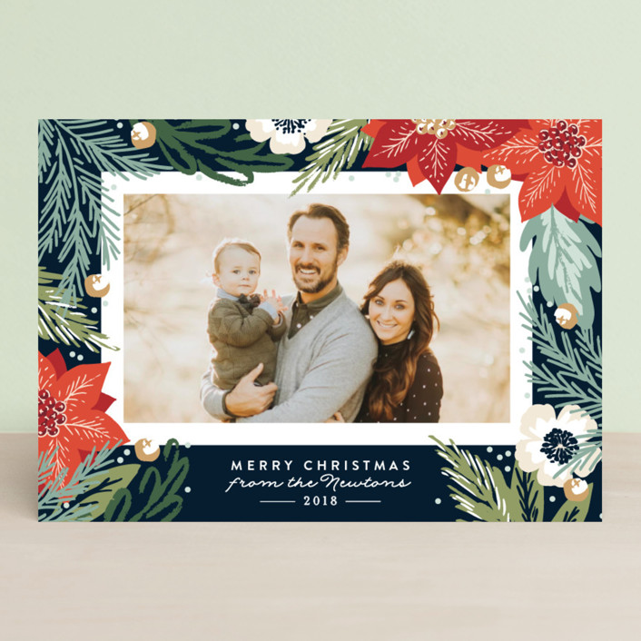 """Winter Botanicals"" - Holiday Photo Cards in Latte by Alethea and Ruth."