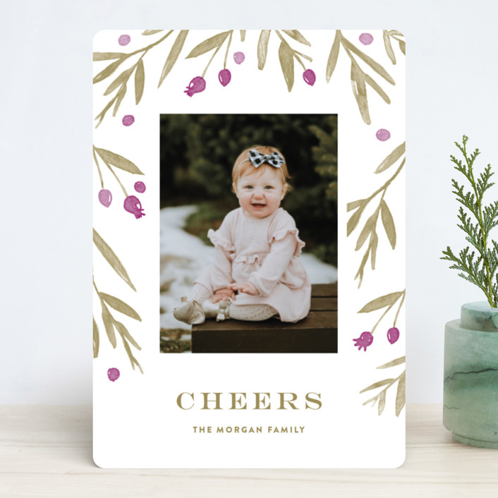 """""""Winter Harvest"""" - Holiday Photo Cards in Berry by Oscar & Emma."""