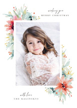 Watercolor Florals Holiday Photo Cards By Lori Wemple