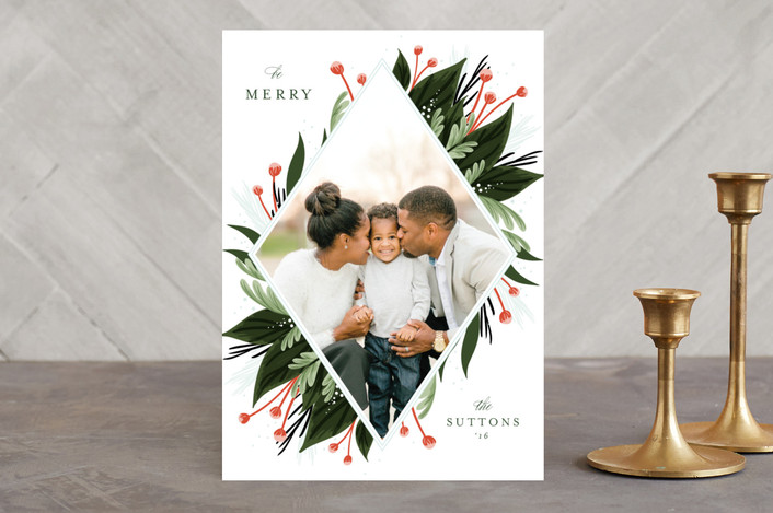 """freshly framed"" - Flora & Fauna, Floral & Botanical Holiday Photo Cards in evergreen by Angela Marzuki."
