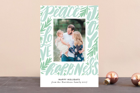 Word Script Frame Holiday Photo Cards