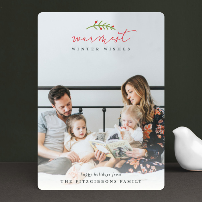 """""""Merrier Than Ever"""" - Holiday Photo Cards in Redwood by Michelle Poe."""