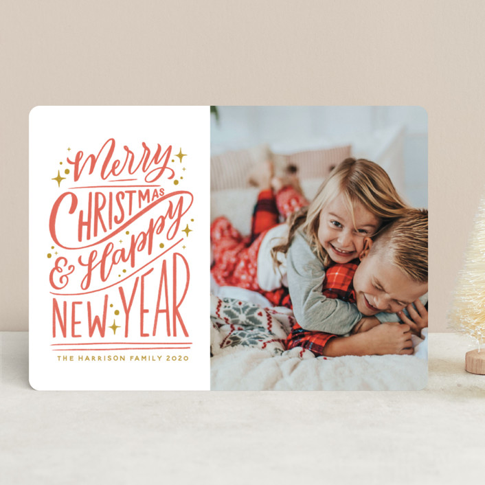 """Hand-Lettered"" - Bohemian, Vintage Holiday Photo Cards in Peppermint by Nicole Barreto."