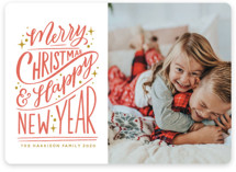 This is a red holiday photo card by Nicole Barreto called Hand-Lettered with standard printing on smooth signature in standard.
