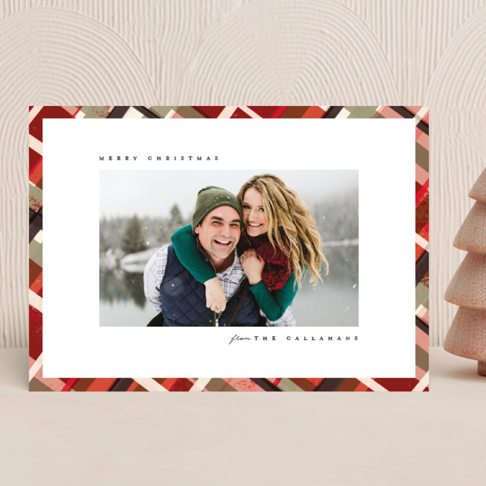 """Vienna"" - Modern, Vintage Holiday Photo Cards in Mulled Wine by Julie Murray."