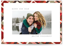 This is a red holiday photo card by Julie Murray called Vienna with standard printing on smooth signature in standard.