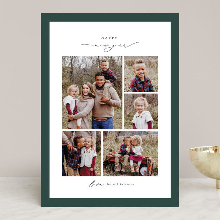 """Framed Collage"" - Holiday Photo Cards in Pine by Ekko Studio."