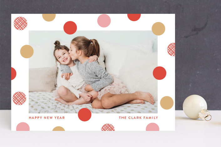 """festive dots"" - Holiday Photo Cards in Holly Berry by Susan Asbill."