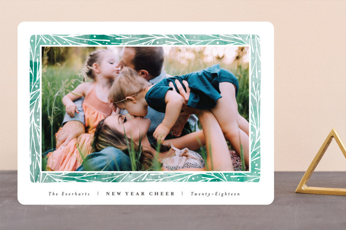 """Organic Frame"" - Bohemian Holiday Photo Cards in Viridian by Olivia Raufman."