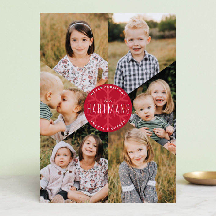 """Snowflake Fragments"" - Holiday Photo Cards in Cranberry by Ellis."