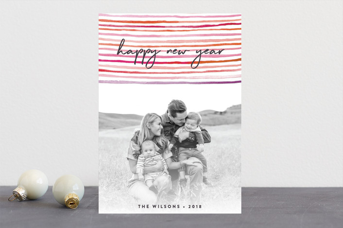 """happy stripes"" - Bohemian Holiday Photo Cards in Mixed Berry by Olivia Raufman."