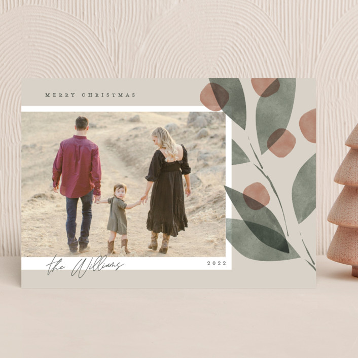 """""""Botanical Branch"""" - Holiday Photo Cards in Cream by Robert and Stella."""