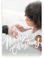 This is a white holiday photo card by Wildfield Paper Co. called Frosted Script with standard printing on smooth signature in standard.