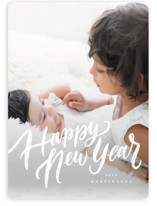This is a white holiday photo card by Wildfield Paper Co called Frosted Script with standard printing on smooth signature in standard.