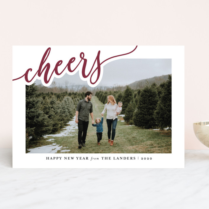 """Merry Swirling"" - Holiday Photo Cards in Wine by Chasity Smith."