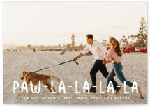 This is a white holiday photo card by Erica Krystek called Paw La La with standard printing on smooth signature in standard.