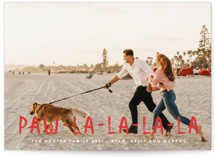 This is a red holiday photo card by Erica Krystek called Paw La La with standard printing on smooth signature in standard.