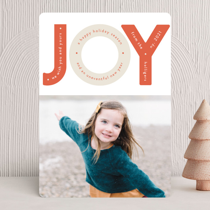 """""""Capital Joy"""" - Modern Holiday Photo Cards in Peppermint by Gwen Bedat."""