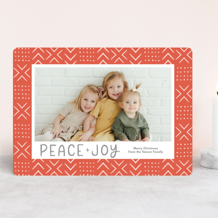 """Peaceful Pattern"" - Bohemian Holiday Photo Cards in Tangerine by Something Noir."