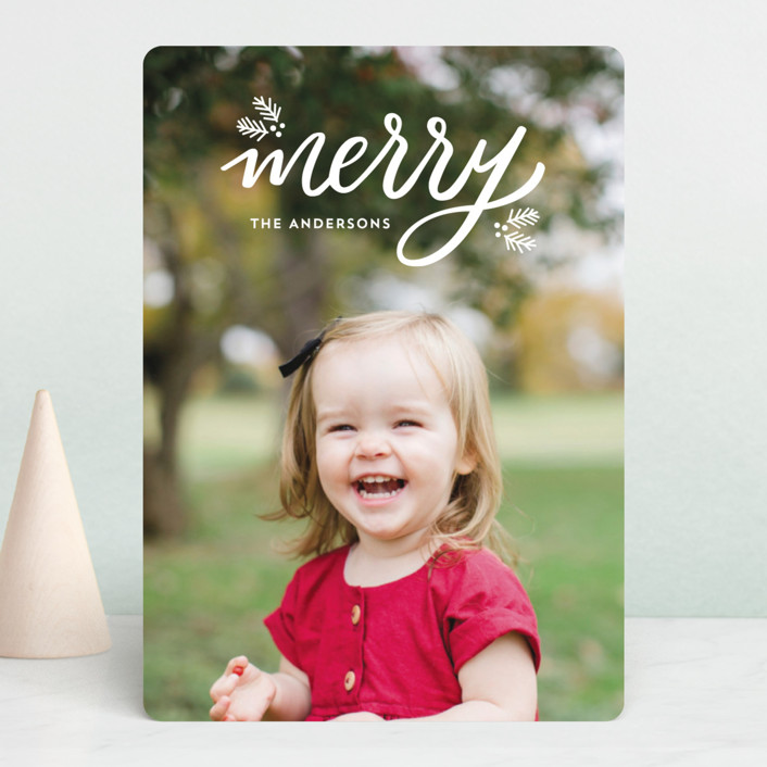 """""""Festive Merry"""" - Holiday Photo Cards in Snow by Little Print Design."""