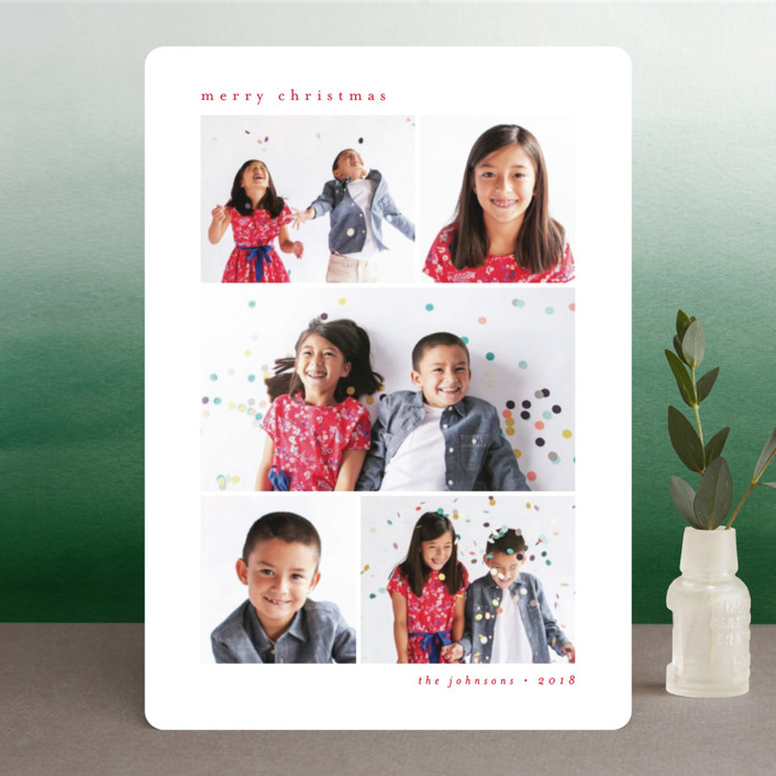 """""""Minimal Grid"""" - Holiday Photo Cards in Berry by peony papeterie."""