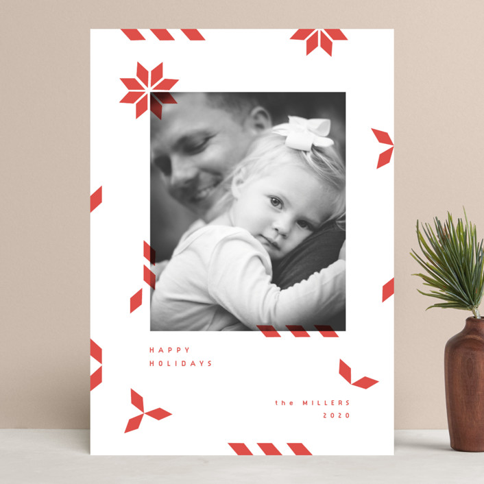 """""""geometric mail"""" - Modern Holiday Photo Cards in Poinsetta by Sumak Studio."""