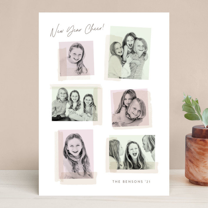 """""""Collage Fun"""" - Holiday Photo Cards in Bubblegum by Hooray Creative."""