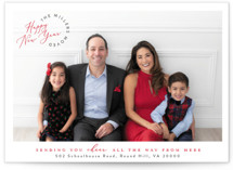 This is a red holiday photo card by Owl and Toad called Cheer from Here with standard printing on smooth signature in standard.