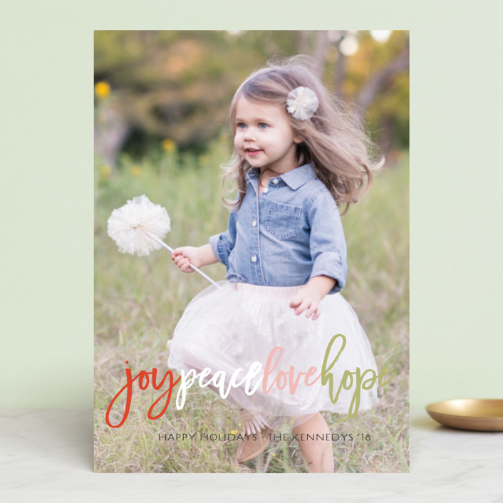 """Colorful Joy Peace Love Hope"" - Holiday Photo Cards in Cherry by fatfatin."