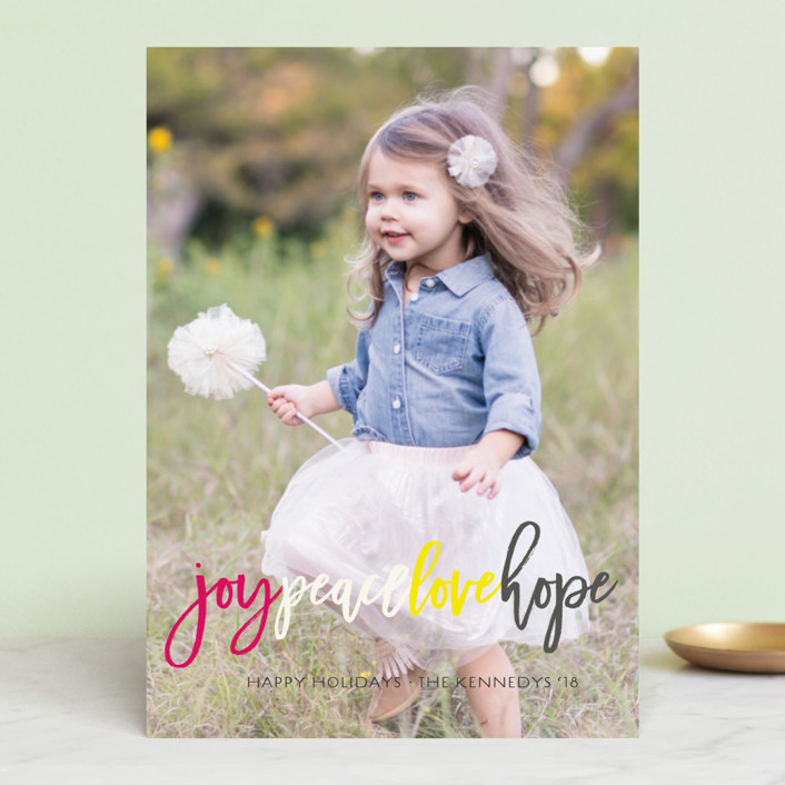 """Colorful Joy Peace Love Hope"" - Holiday Photo Cards in Aqua Sky by fatfatin."