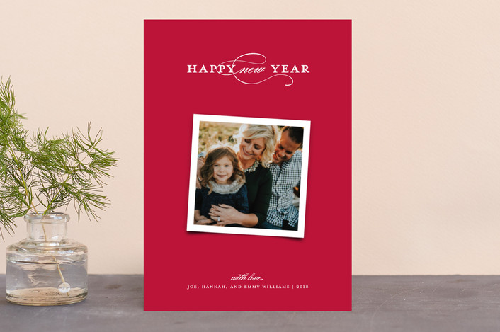 """Elegant Trio"" - Holiday Photo Cards in Cranberry by Paper Dahlia."