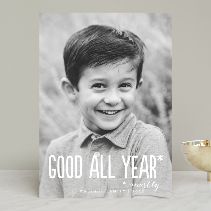"""Good All Year"" - Holiday Photo Cards in Snowflake by Amy Payne."