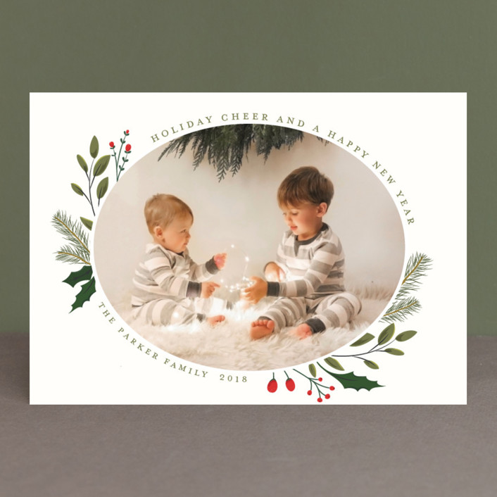 """Christmas Sprigs"" - Holiday Photo Cards in Crimson by Susan Moyal."