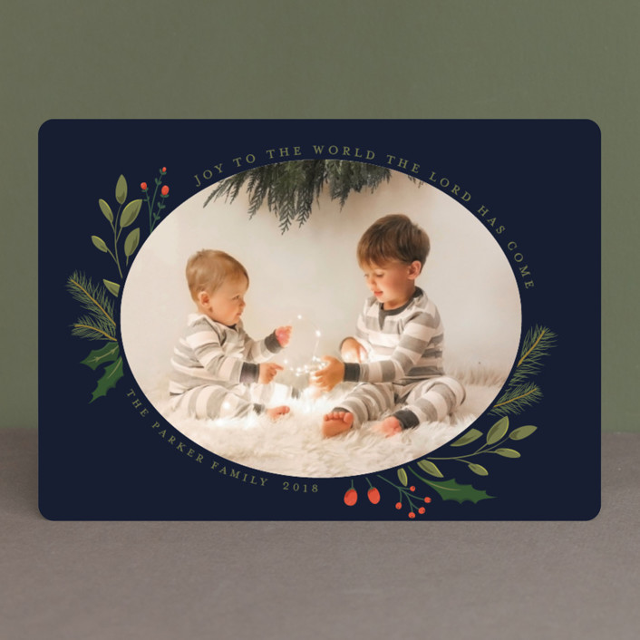"""Christmas Sprigs"" - Holiday Photo Cards in Blueberry by Susan Moyal."