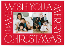 This is a red holiday photo card by Owl and Toad called Merry go 'round with standard printing on triplethick in standard.