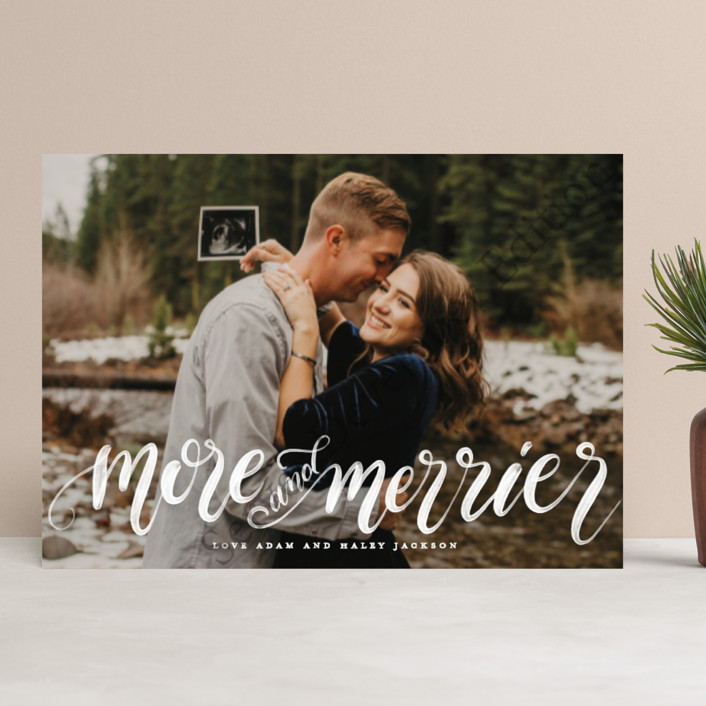 """More & Merrier"" - Holiday Photo Cards in Snow by Pink House Press."