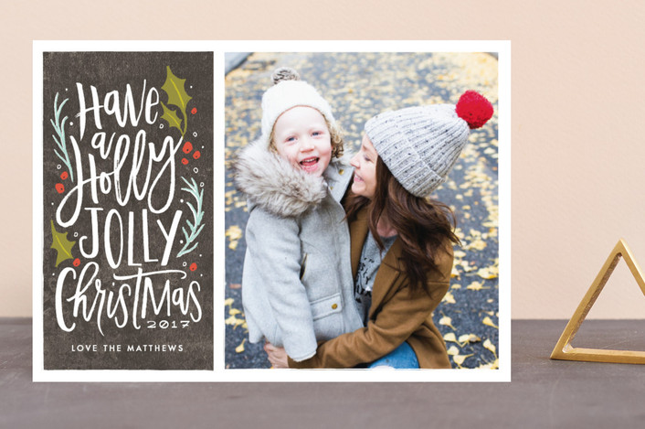 """holly jolly cheer"" - Vintage Holiday Photo Cards in Graphite by Karidy Walker."