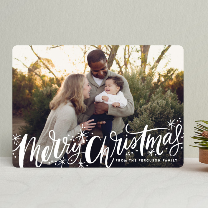 """""""Merry Christmas Sparkle Snow"""" - Bohemian Holiday Photo Cards in Holly by Alethea and Ruth."""