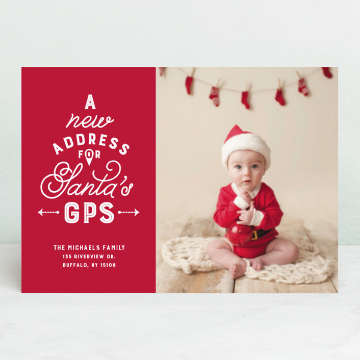 """New address for Santa's GPS"" - Funny Holiday Photo Cards in Cardinal by Lea Delaveris."