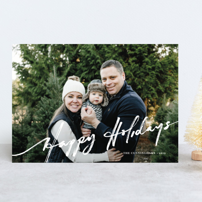 """""""brushed holiday"""" - Modern Holiday Photo Cards in Snow by Frooted Design."""