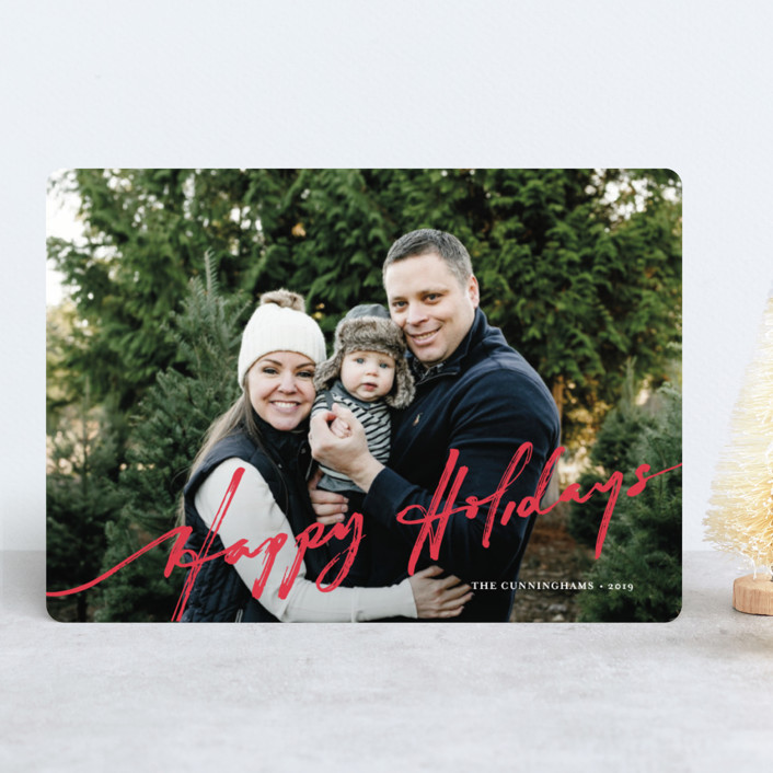 """brushed holiday"" - Holiday Photo Cards in Holly by Frooted Design."