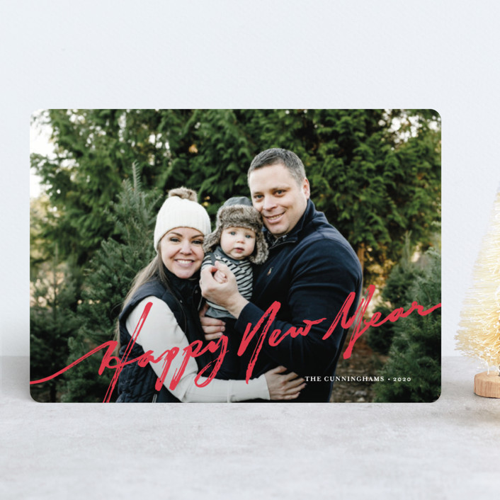 """""""brushed holiday"""" - Holiday Photo Cards in Holly by Frooted Design."""