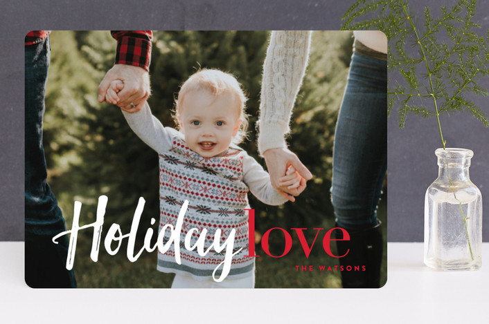 """Filled with Holiday Love"" - Modern Holiday Photo Cards in Crimson by Carrie ONeal."