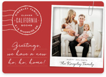 This is a red holiday photo card by Leah Bisch called Ho Ho Home with standard printing on smooth signature in standard.